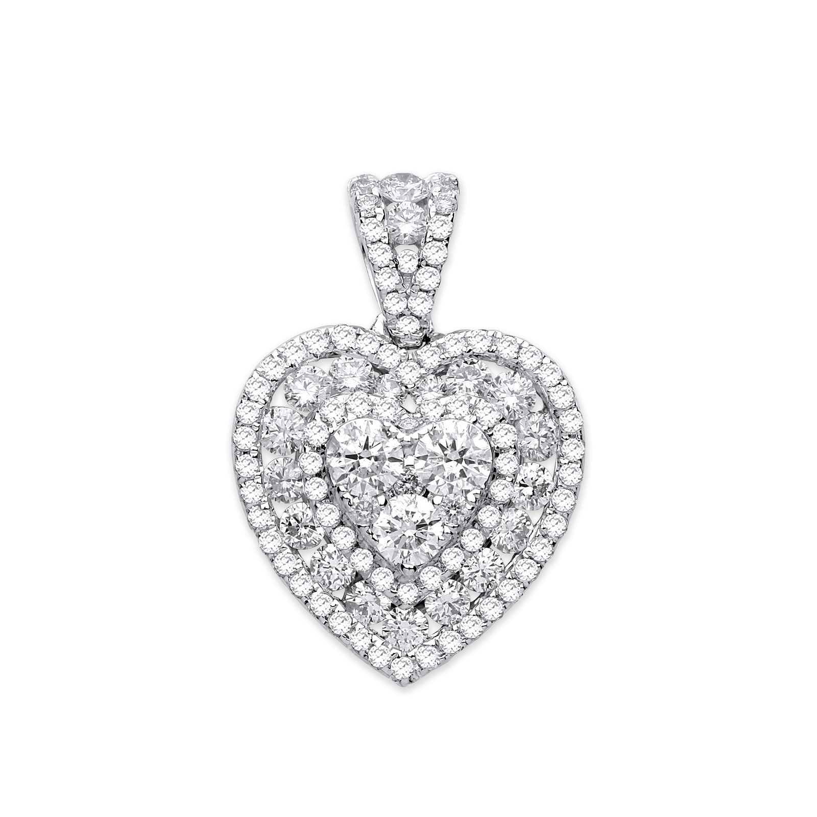 18ct White Gold 1.35ct Heart Pave Diamond Pendant