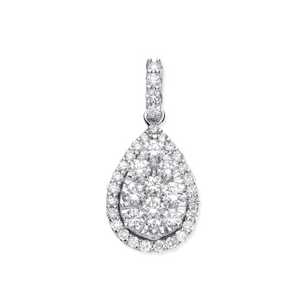 Selling: 18ct White Gold 1.62ct Pear Shaped Drop Pendant