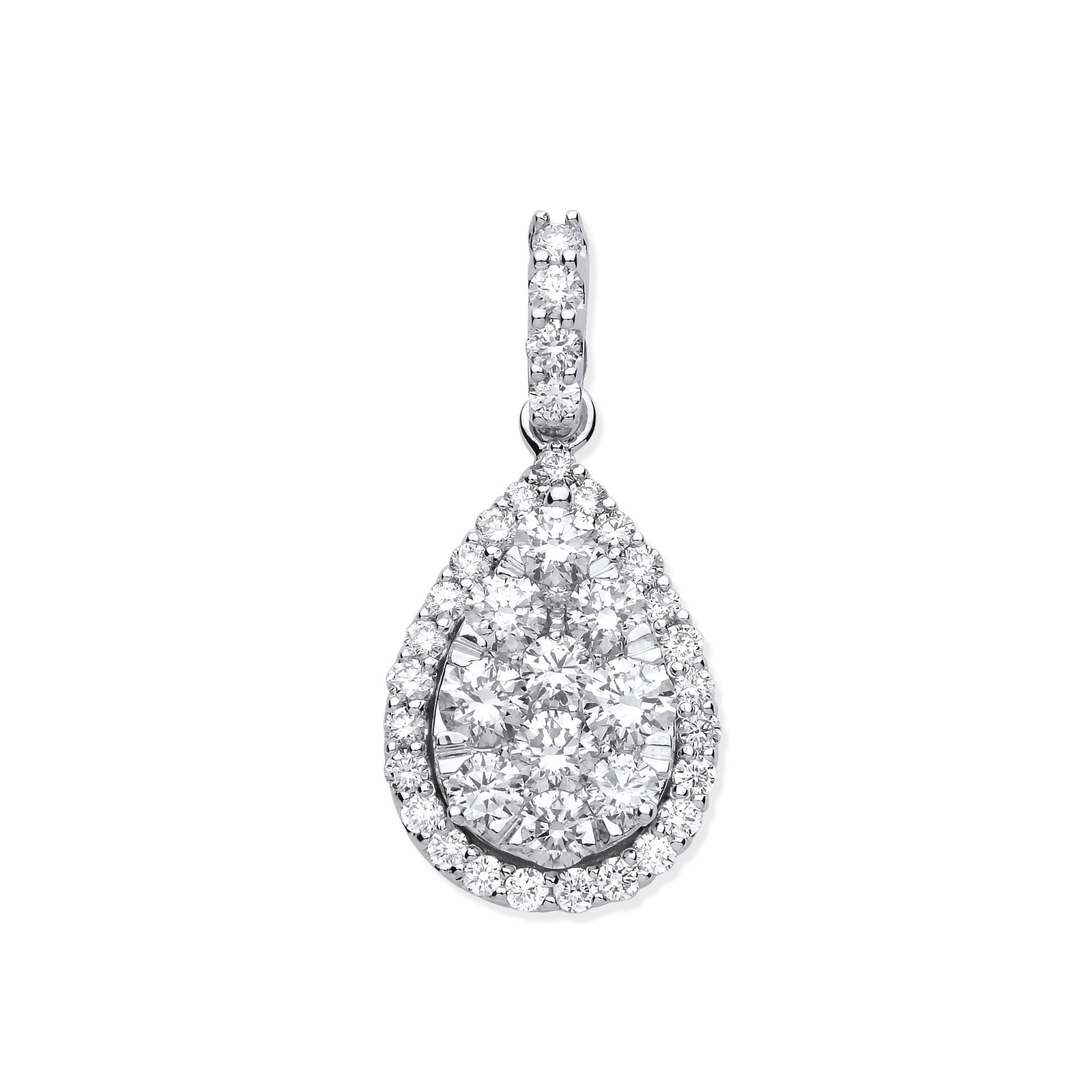 18ct White Gold 1.62ct Pear Shaped Drop Pendant