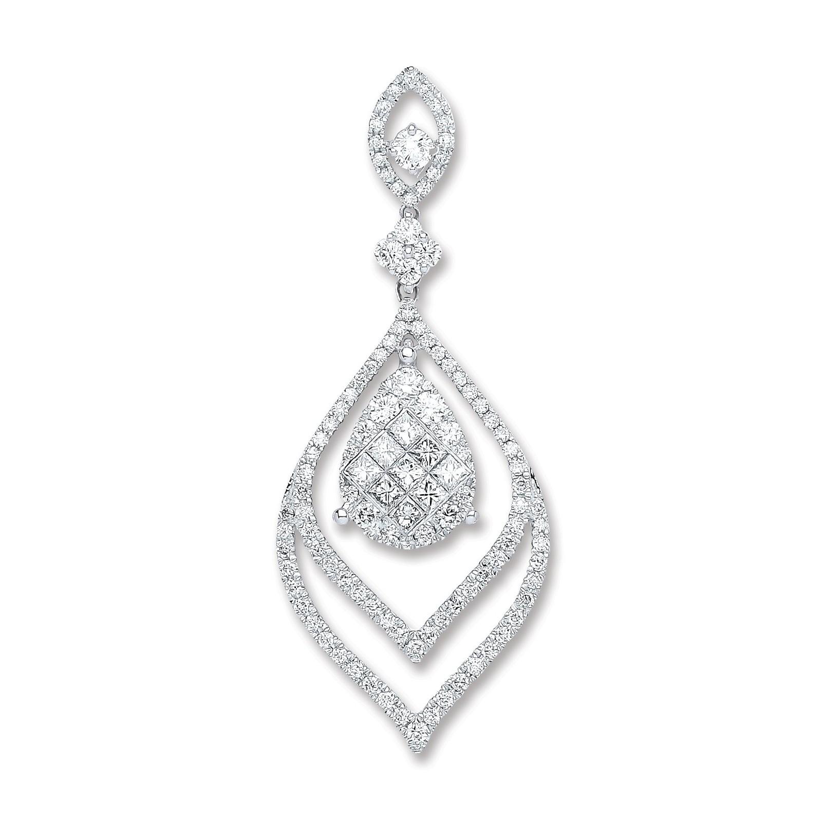 18ct White Gold 1.60ct Diamond Drop Pendant