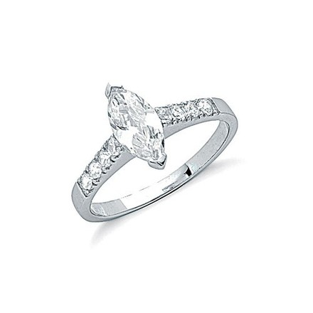 Selling: Silver Claw Set Marquies Cut Cz Solitaire Ring