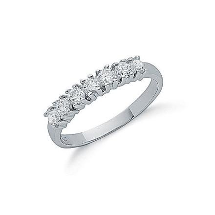 Selling: Silver Claw Set Cz Half Eternity Ring