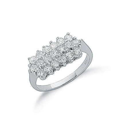 Selling: Silver Claw Set Cz Cluster Ring