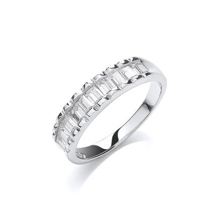 Silver 10 Baguettes Cz Half ET Ring