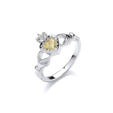 Silver Cz Claddagh Ring
