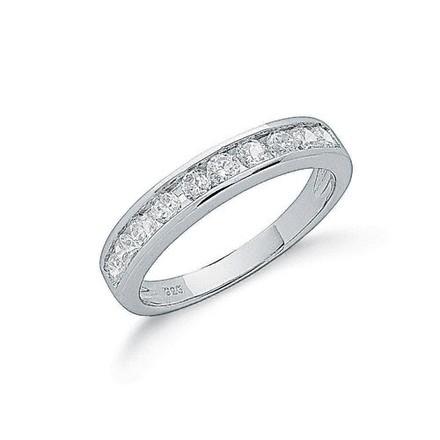 Silver Channel Set Cz Half Eternity Ring