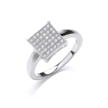 Silver Micro-Pave Square Cz Ring
