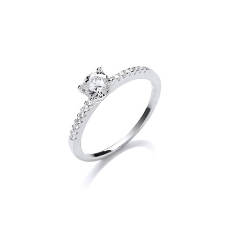 Silver Solitare With Cz Shoulder Ring