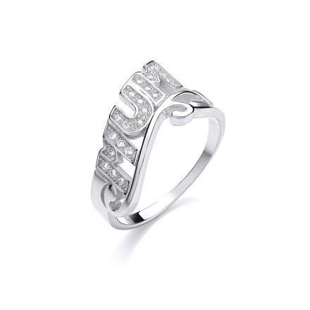 Silver Mum Cz  Ring