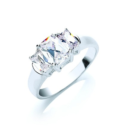 Silver Emerald Cut Trilogy Cz Ring