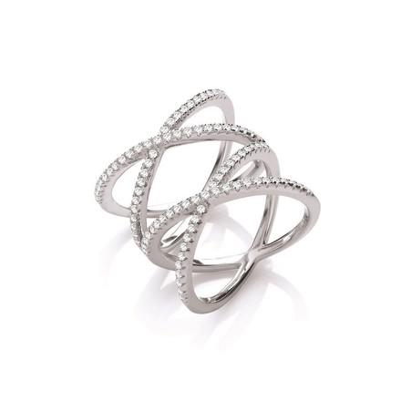 Selling: Silver Full Finger Kisses Cz Ring