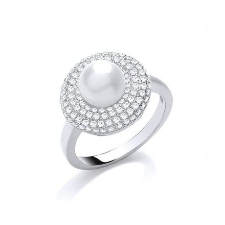 Selling: Silver Cz & Simulated Pearl Ring