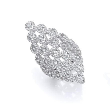 Selling: Silver Long Diamond Shape Design Cz Ring