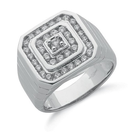 Selling: Silver Gents Cz Ring