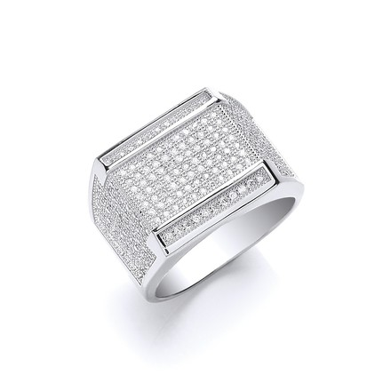 Selling: Silver Micro Pave' Cz Gents Ring