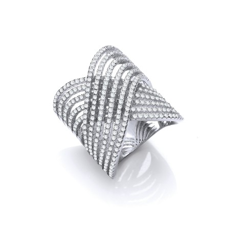 Selling: Silver Crossover Cz Ring