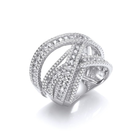 Selling: Silver Intertwined Channel & Pave Set Cz Ring