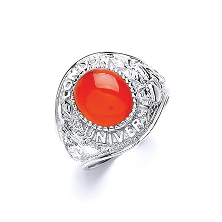 Selling: Silver Gents Red Stone College Ring