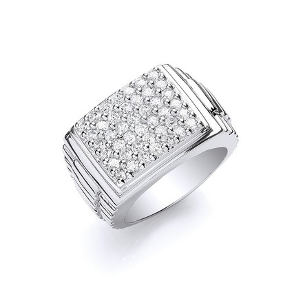 Selling: Silver Gents Square Top Cz Ring