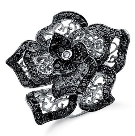 Selling: Silver Black & White Cz Flower Ring