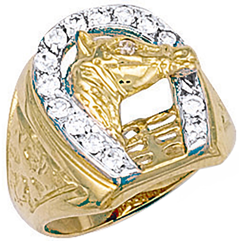 Y/G Horse Shoe & Head Cz Ring