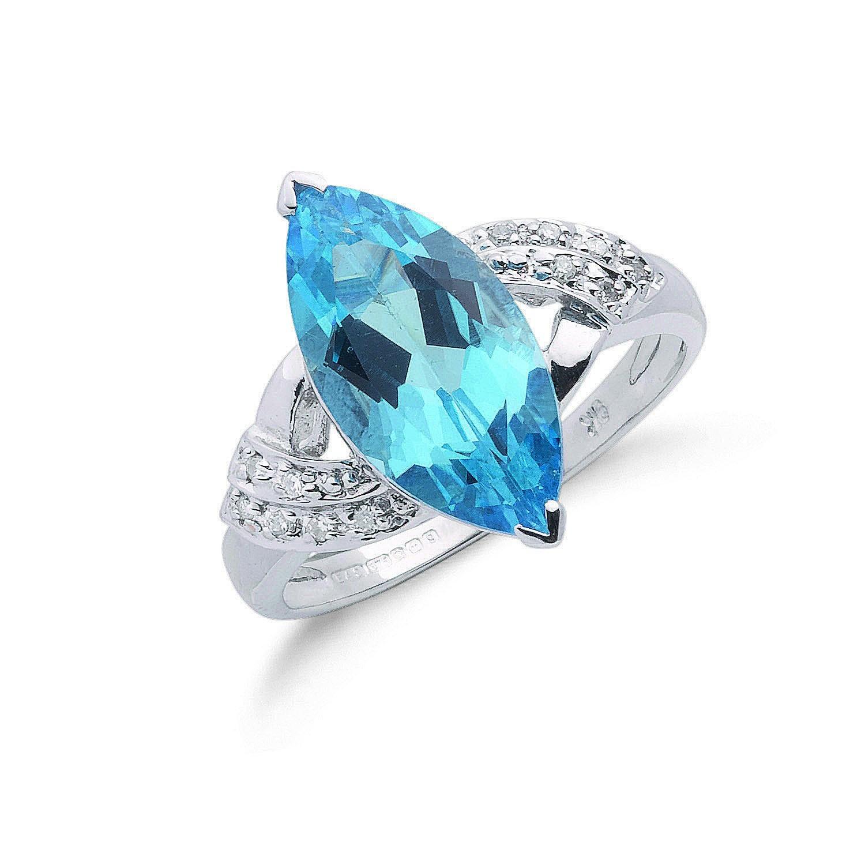 9ct W/G 0.06ct Diamond & 4.84ct Blue Topaz Ring