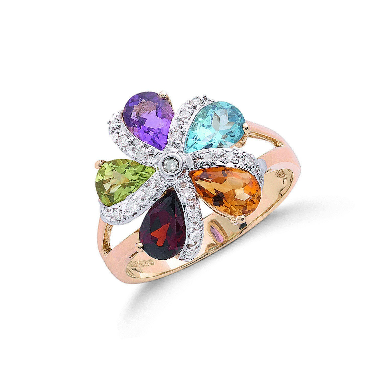 9ct Y/G Diamond & Multi Colour St Flower / Cluster Ring
