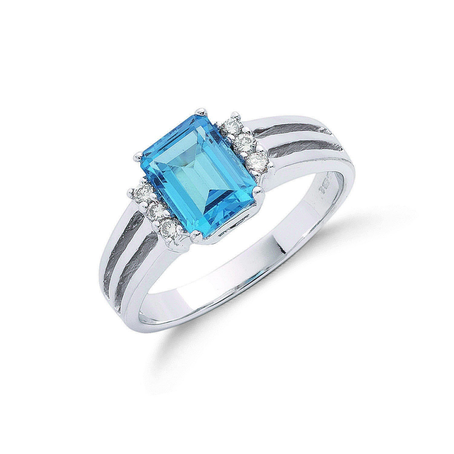 9ct W/G 0.09ct Diamond & 2.00ct Blue Topaz Ring