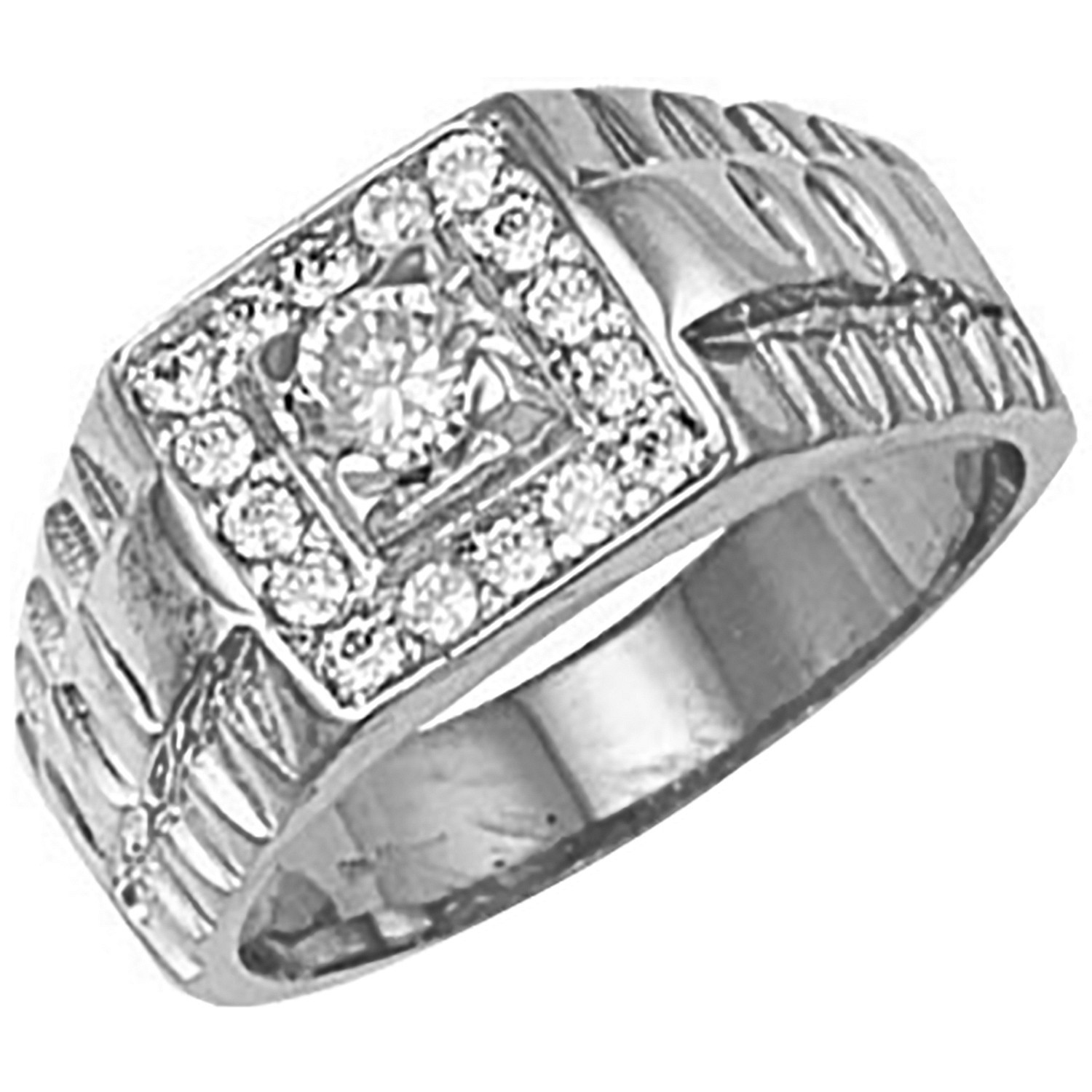 W/G Square Top Gents Cz Ring
