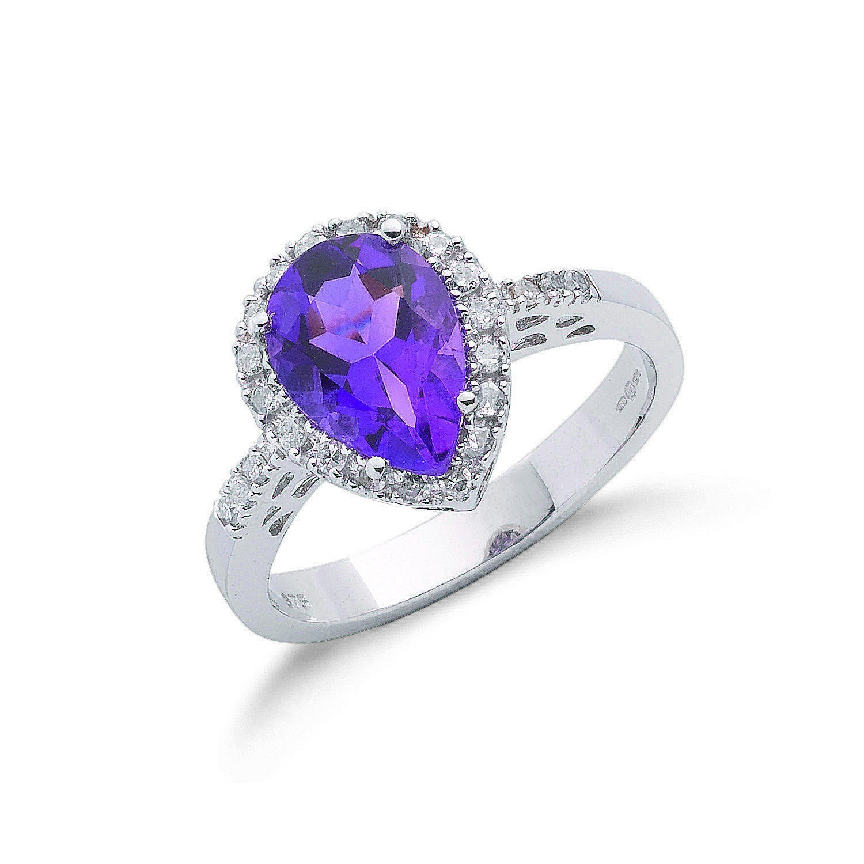 9ct W/G 0.18ct Diamond & 1.60ct Amethyst Ring
