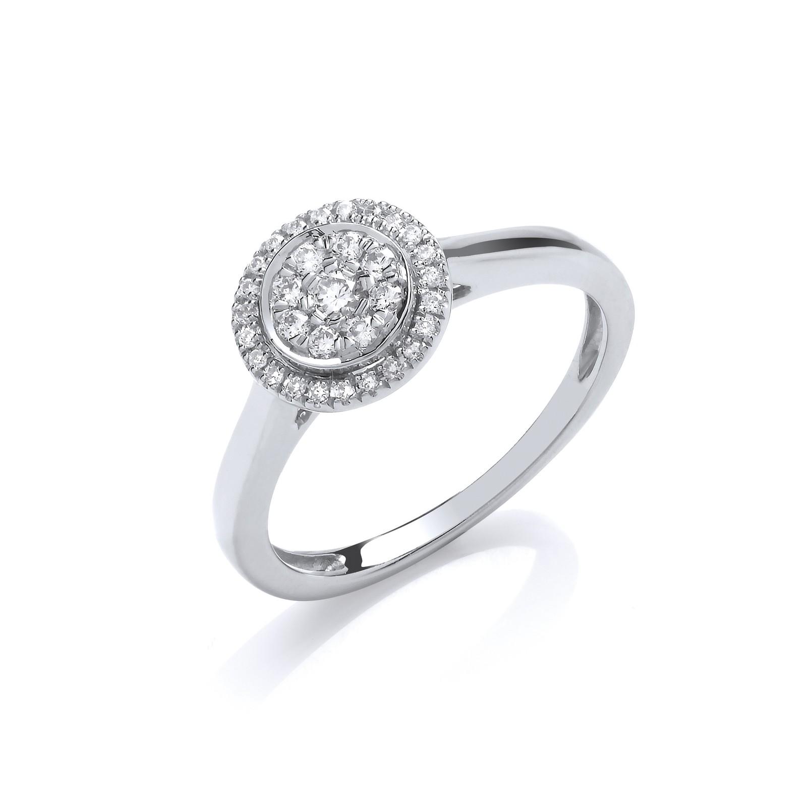 9ct White Gold Round Pave 0.25ct  Diamond Ring