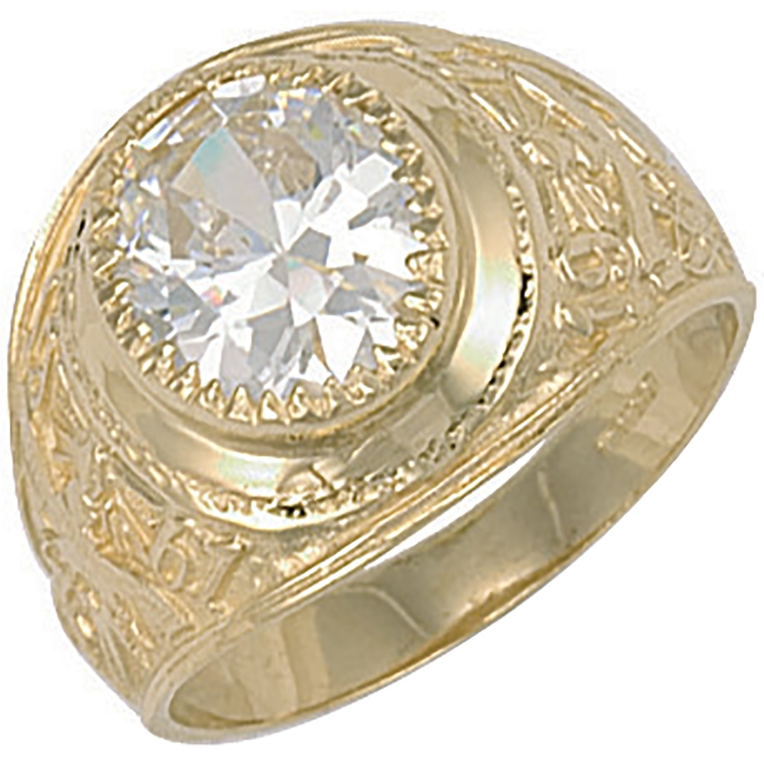 Y/G White Cz Stone College Ring