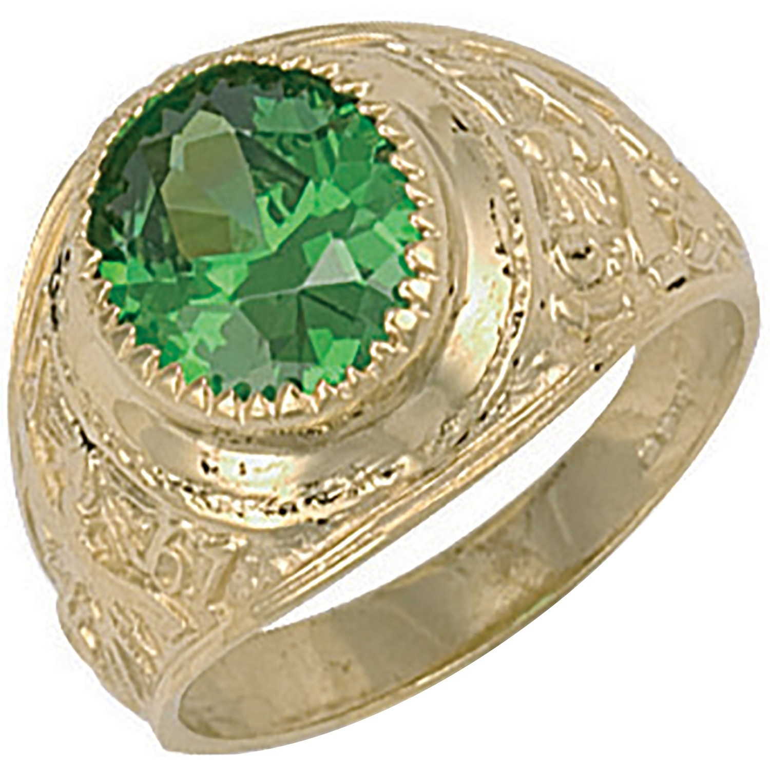 Y/G Green Cz College Ring