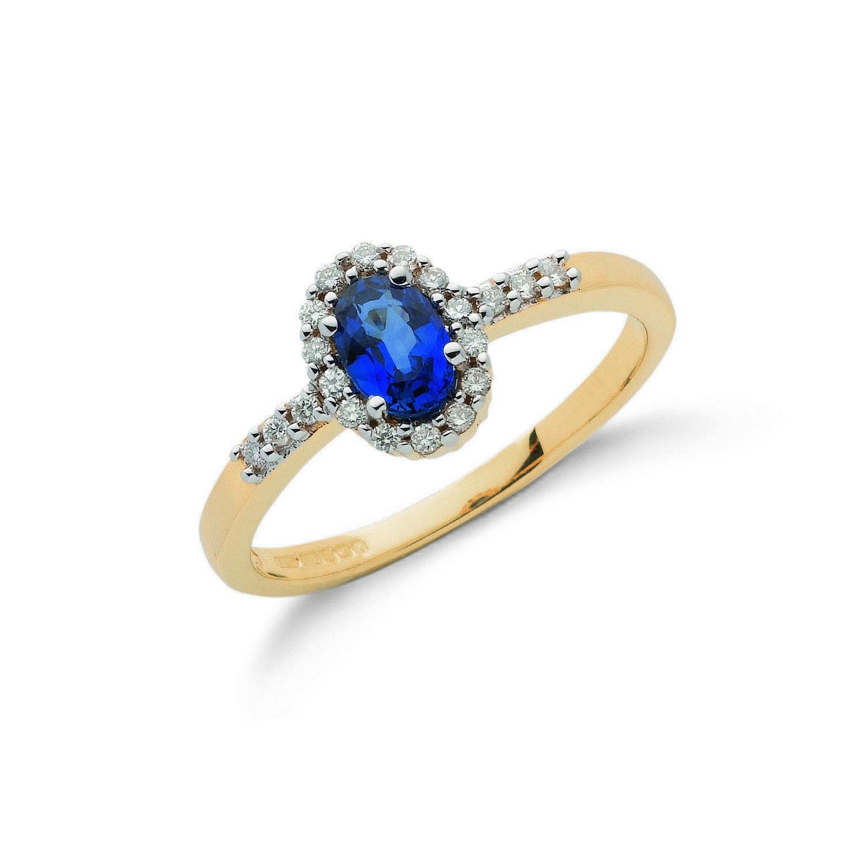 9ct Yellow Gold 0.16ct Diamond & 0.50ct Sapphire Cluster Ring