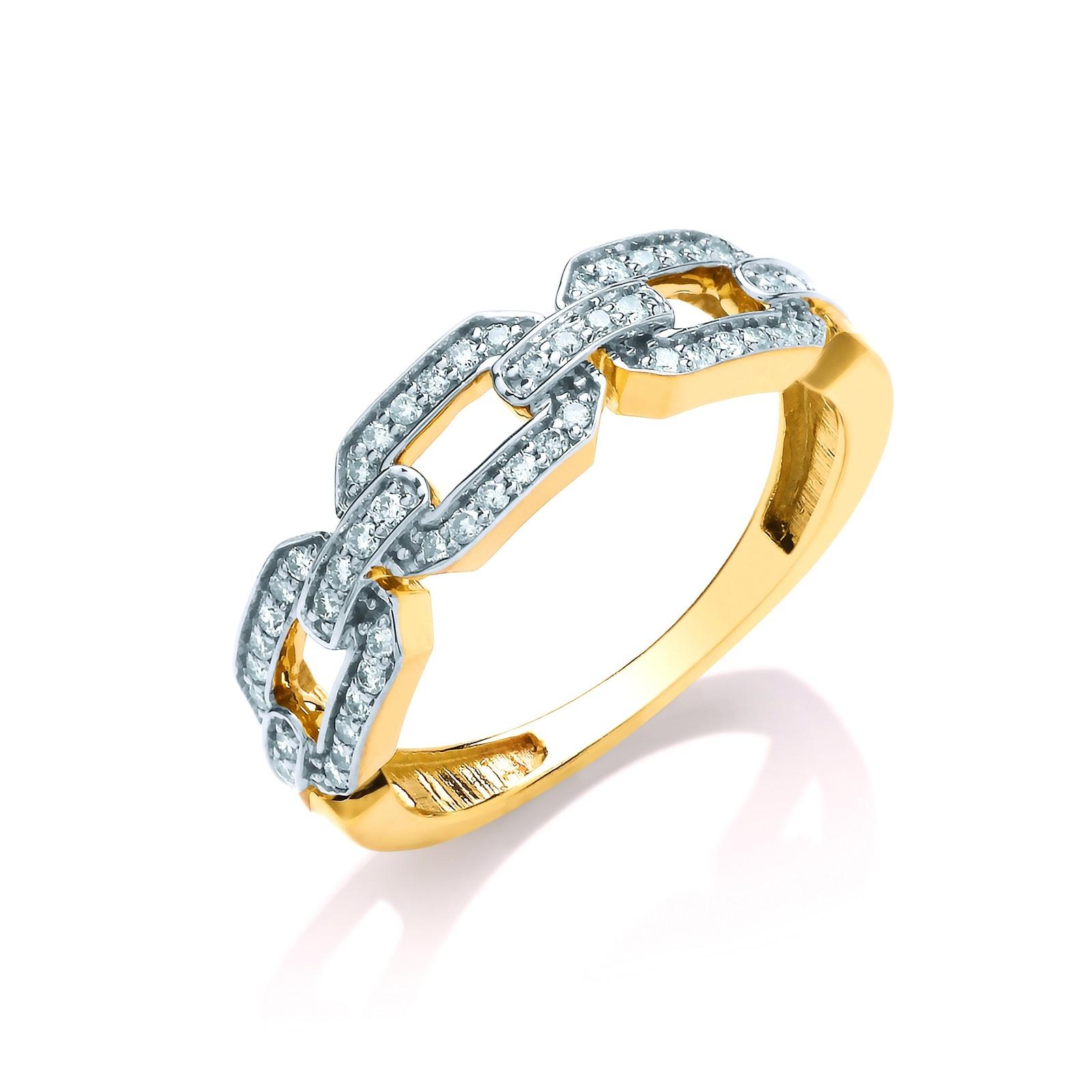 9ct Yellow Gold Chain Design 0.25ctw Diamond Ring