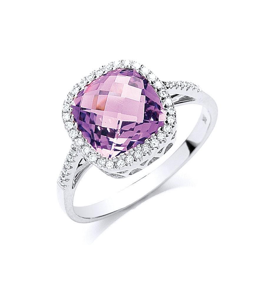 9ct W/G 0.15ct Diamond & 2.65ct Amethyst Ring
