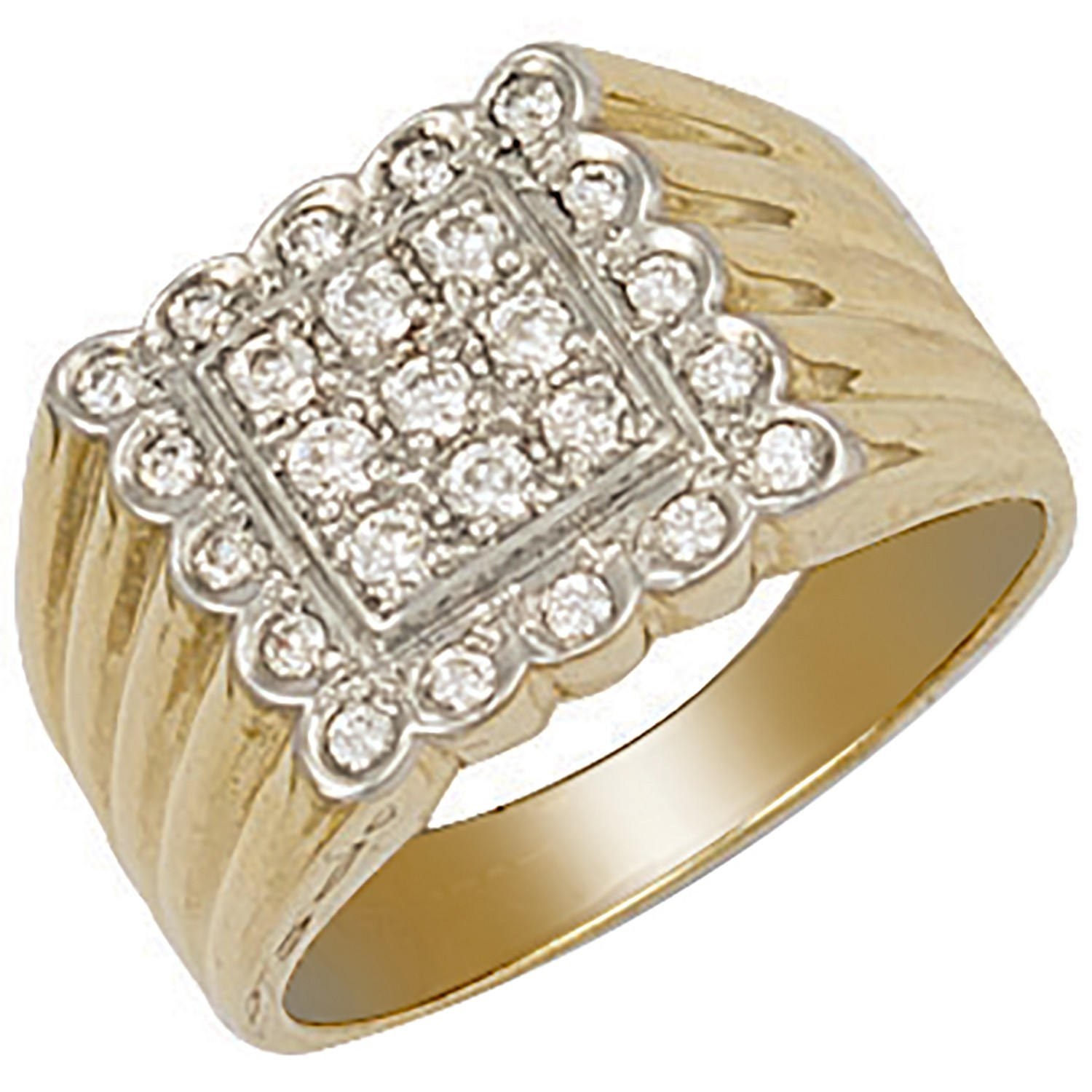 Y/G Square Top Gents Cz Ring