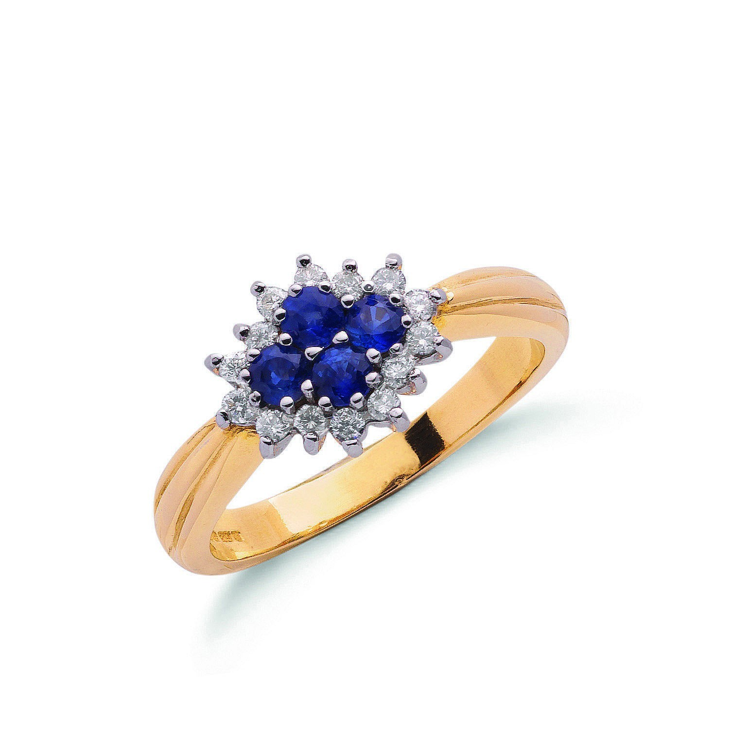9ct Yellow Gold 0.21ct Diamond & 0.45ct Sapphire Cluster Ring