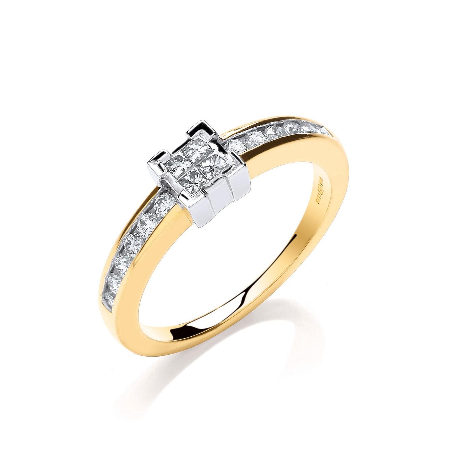 9ct Y/G 0.33ct Princess Cut Centre Diamond Ring