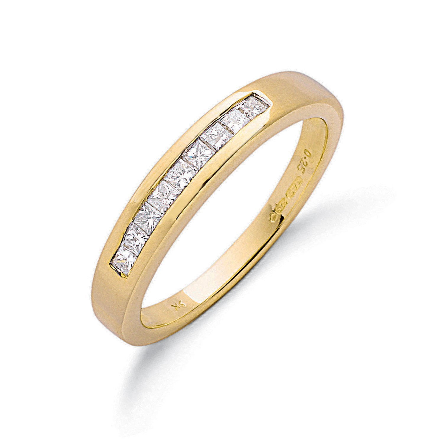 9ct Y/G 0.25ct Princess Cut Diamond Eternity Ring