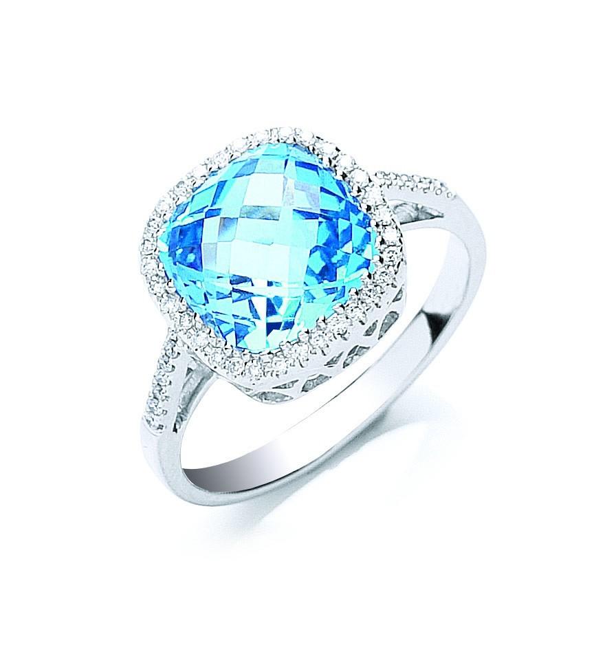 9ct W/G 0.15ct Diamond & 3.50ct Blue Topaz Ring