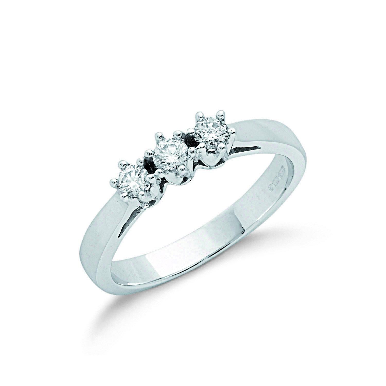 9ct W/G 0.30ct Diamond Trilogy Ring