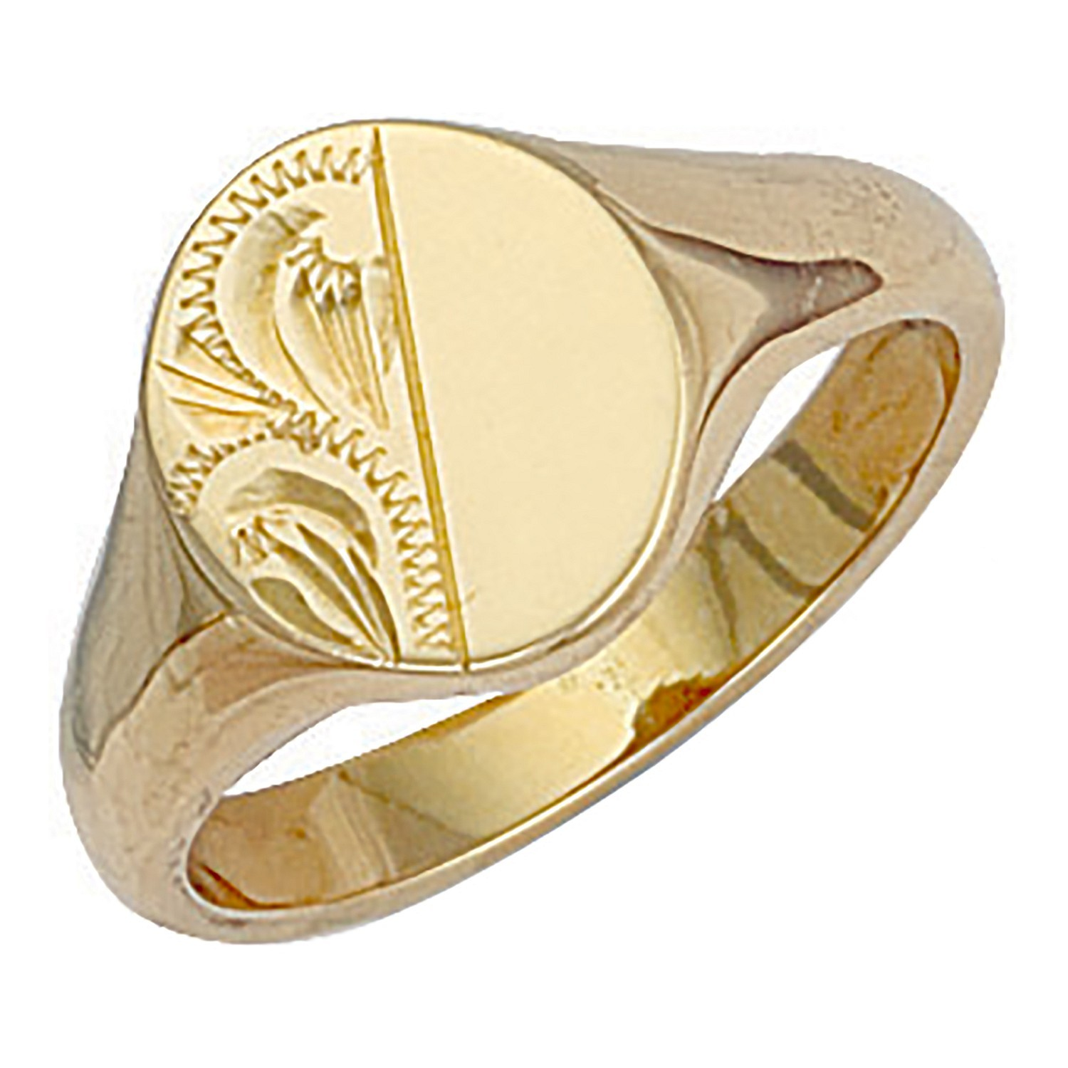 Y/G Oval Engraved Signet Ring