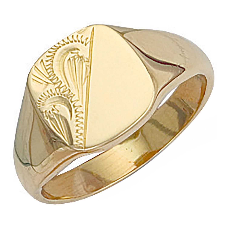 Y/G Cushion Engraved Signet Ring