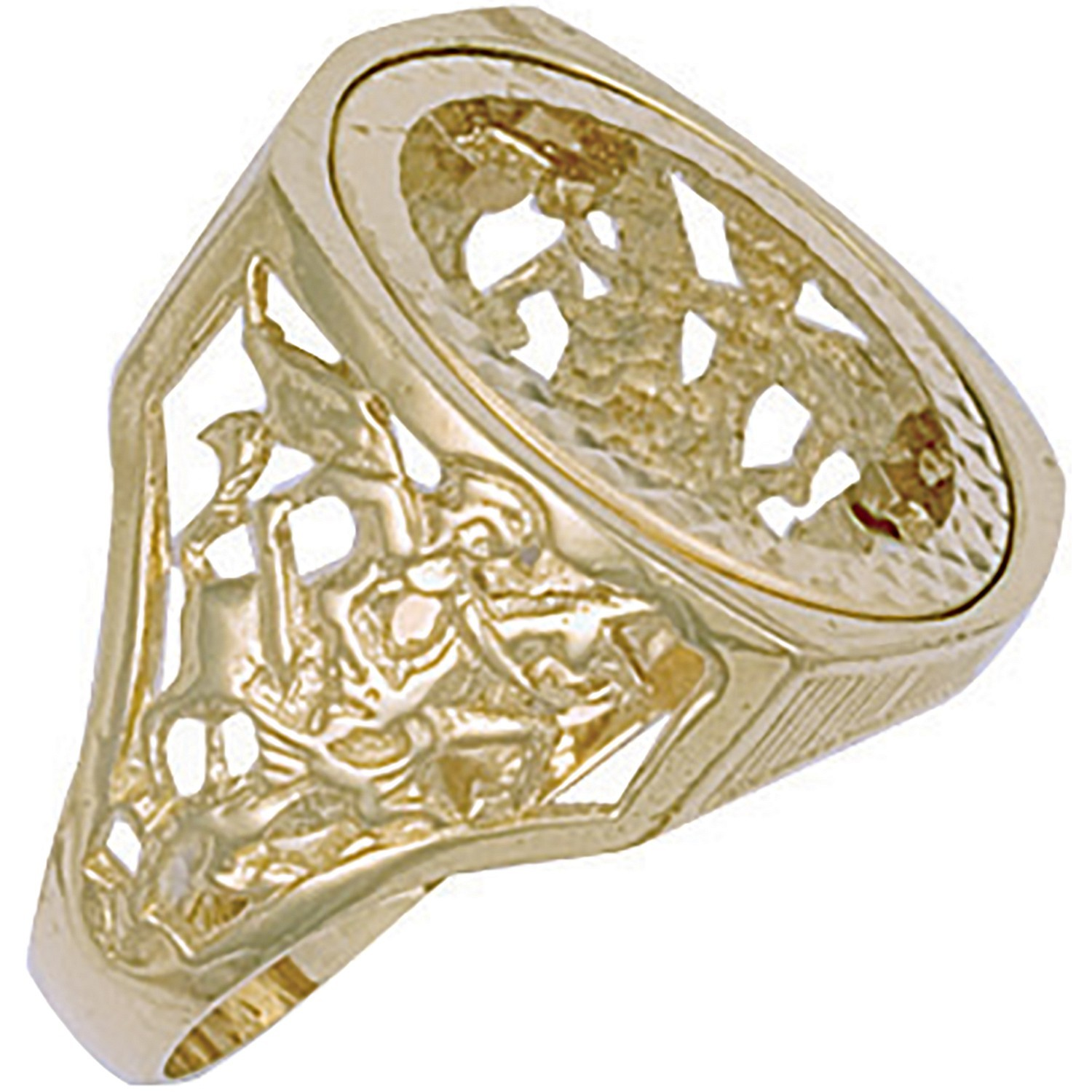 Y/G (Full) Square Top George & Dragon Sovereign Ring