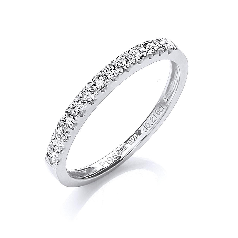 Platinum 0.20ct G/H-Si Half Eternity Diamond Ring