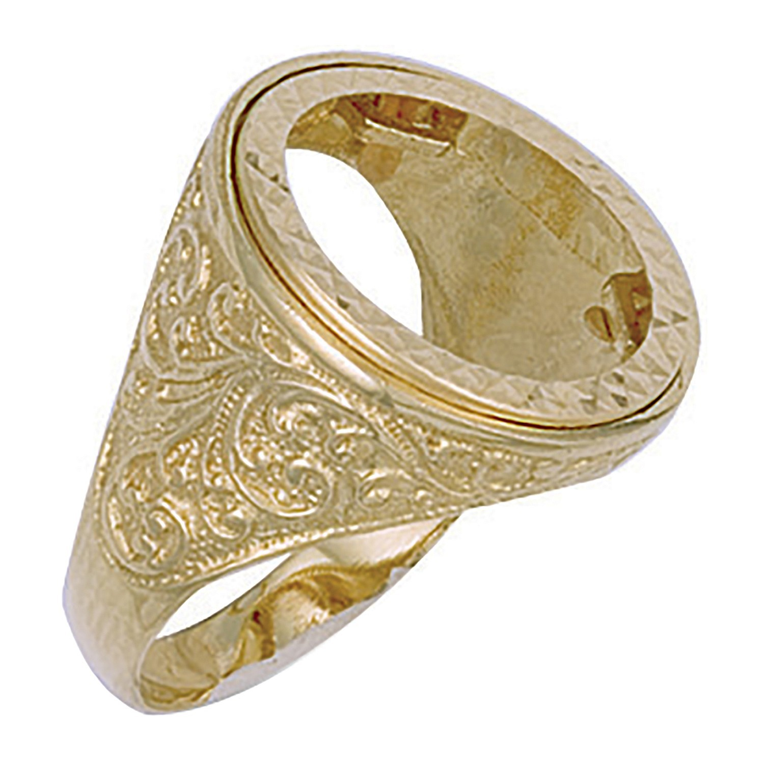 Y/G (Half) Engraved Sides Sovereign Ring