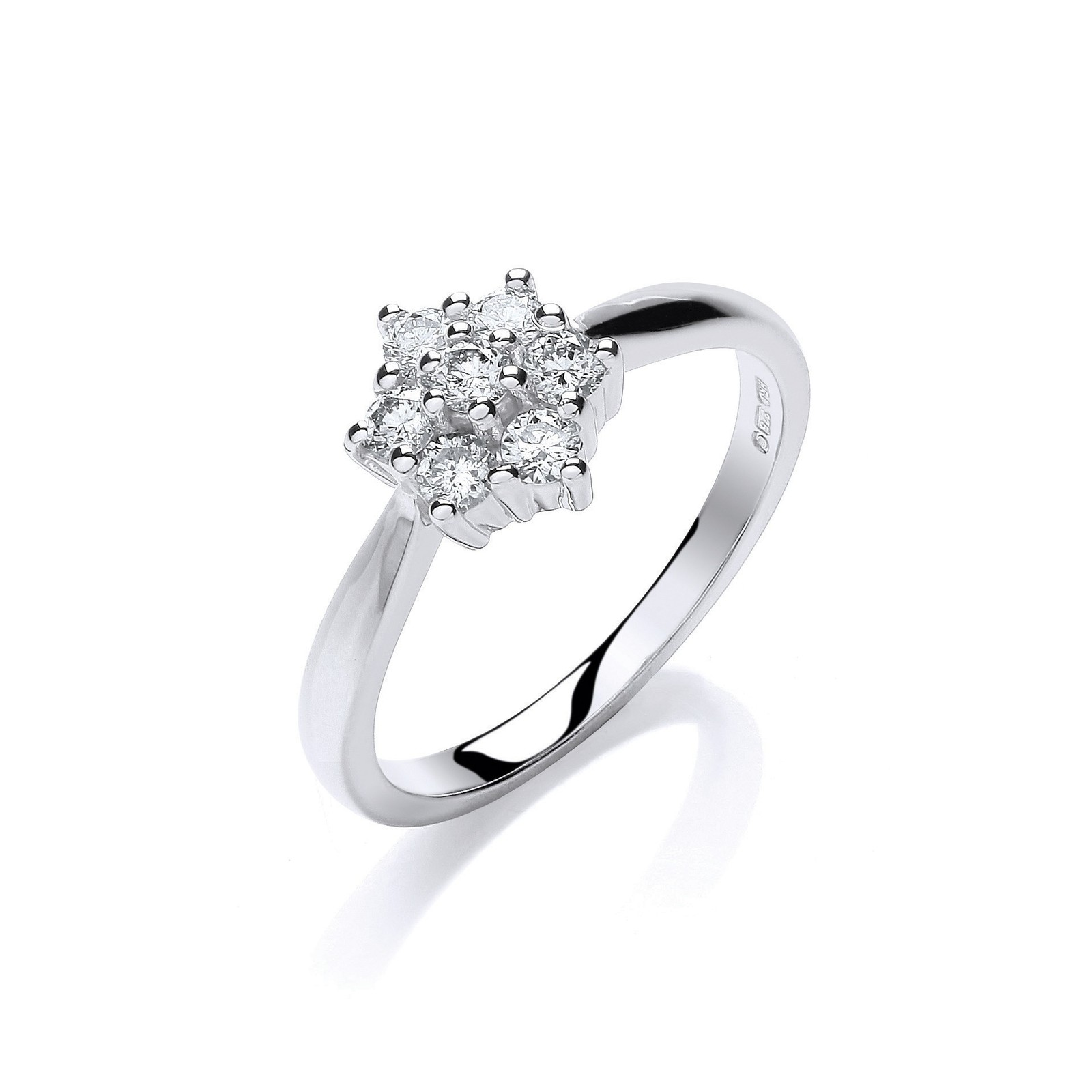 9ct W/G 0.33ct Diamond 7St Cluster Ring