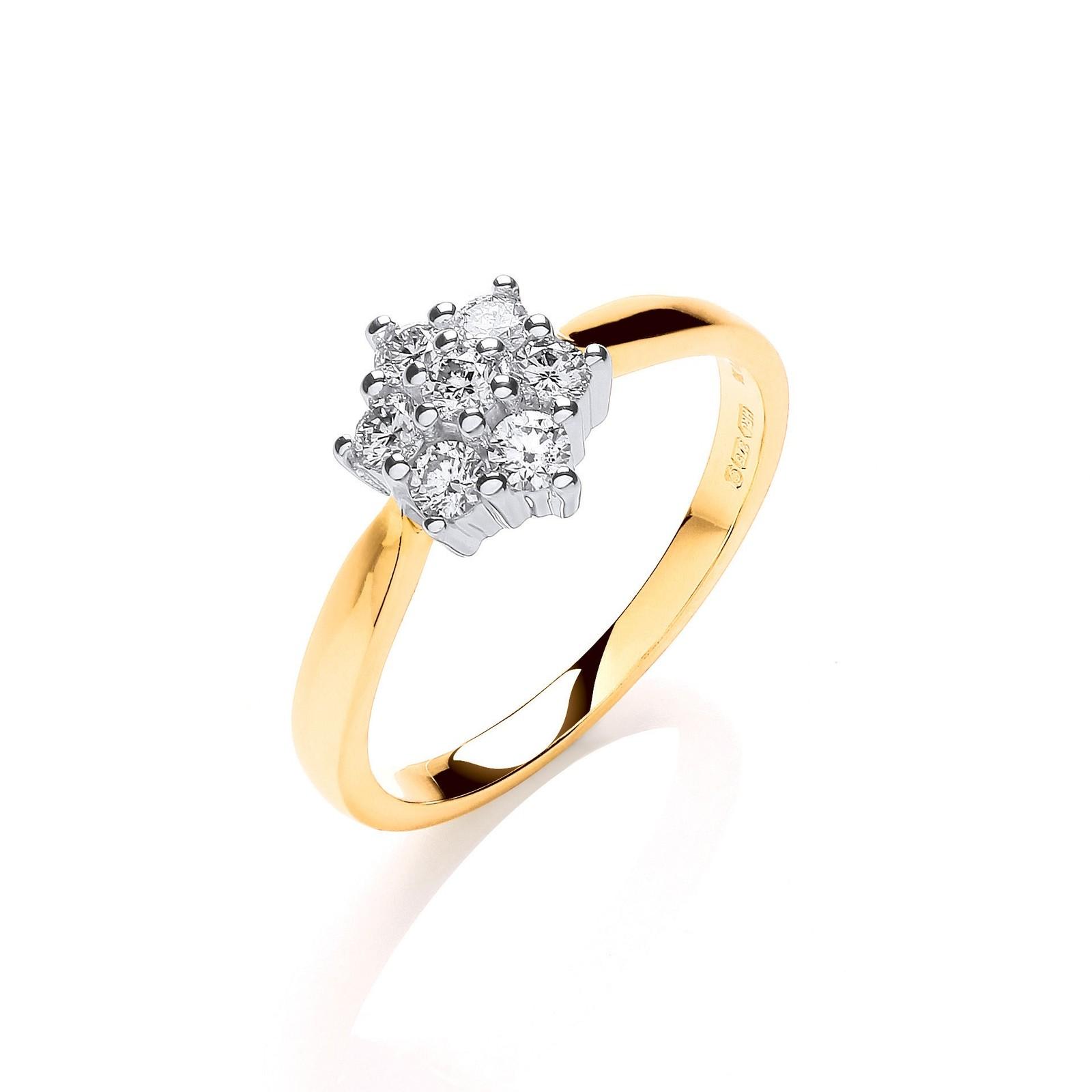 9ct Y/G 0.33ctw Diamond 7St Cluster Ring