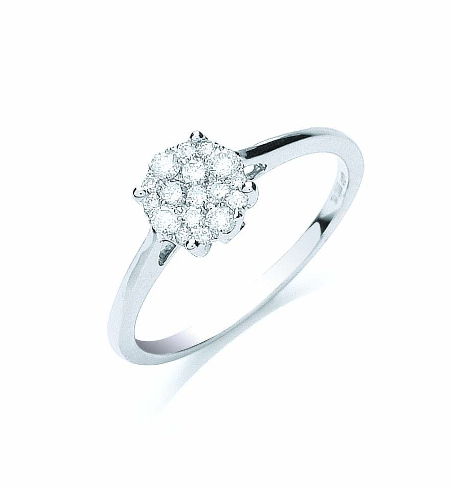 18ct White Gold 0.25ct Cluster Diamond Ring